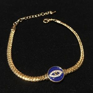 """Evil EYE Protection"" Bracelet in Gold Tone 9"""